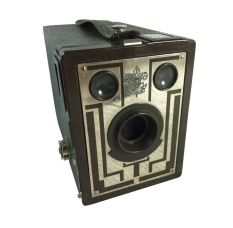 The Kodak Brownie, a roll film snapshot camera, introduced in 1900, made photography available to the masses.