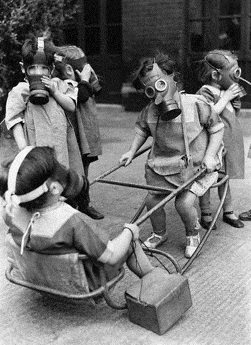 Children Play Wearing Gas Masks, 1941