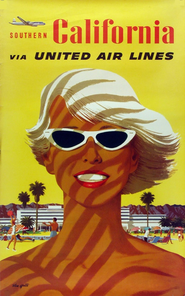 1955 Southern California. United Air Lines poster by Stan Galli