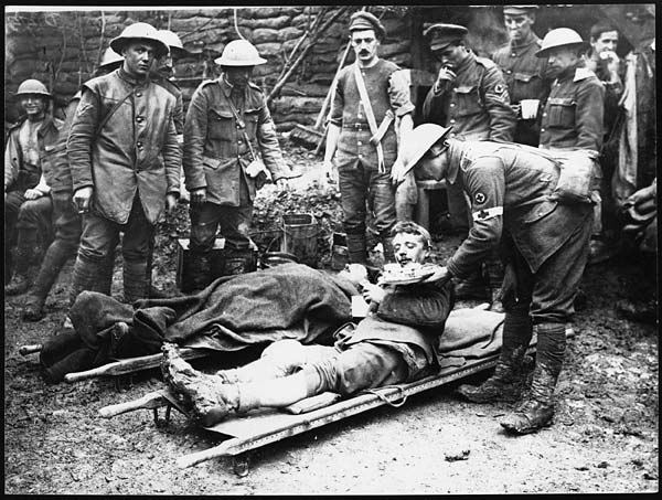 Sandwich for one of our wounded at the Dressing Station