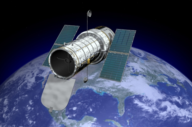 Hubble Space Telescope with Earth