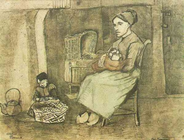 mother-at-the-cradle-and-child-sitting-on-the-floor-1881